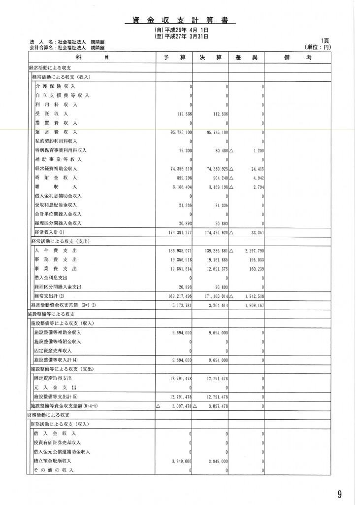 資金収支計算書 (1)